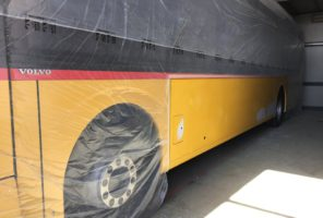 Riparazione fianco sinistro autobus volvo